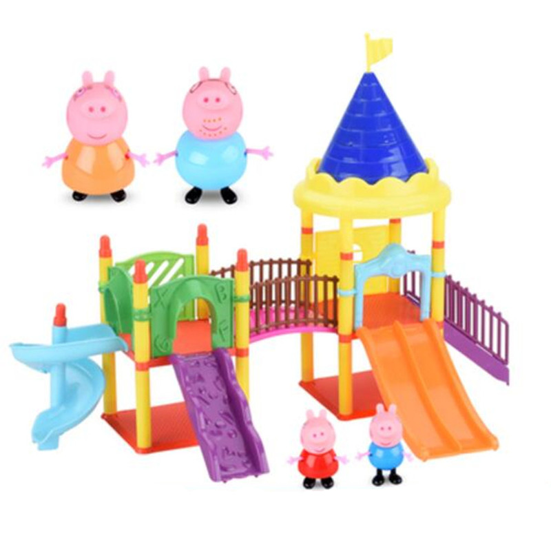 Peppa Pig Family Pack Anime Toys Slide Amusement Park Full Roles Doll Action Figure Model Pelucia Children Birthday Gifts