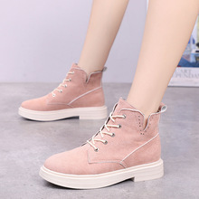 hee grand fur ankle boots camouflage creepers 2017 lace up platform shoes woman wedges flats slip on casual woman shoes xwx6228 Luxury Spring Autumn Women Shoes Martin Boots Ankle Boots for Women Classic Flats Platform Shoes Woman Flock Lace-up Non-slip