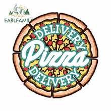 EARLFAMILY 13cm X 13cm renk Vintage Pizza teslimat amblemi vektör görüntü pencere araba Sticker su geçirmez dekorasyon çıkartması