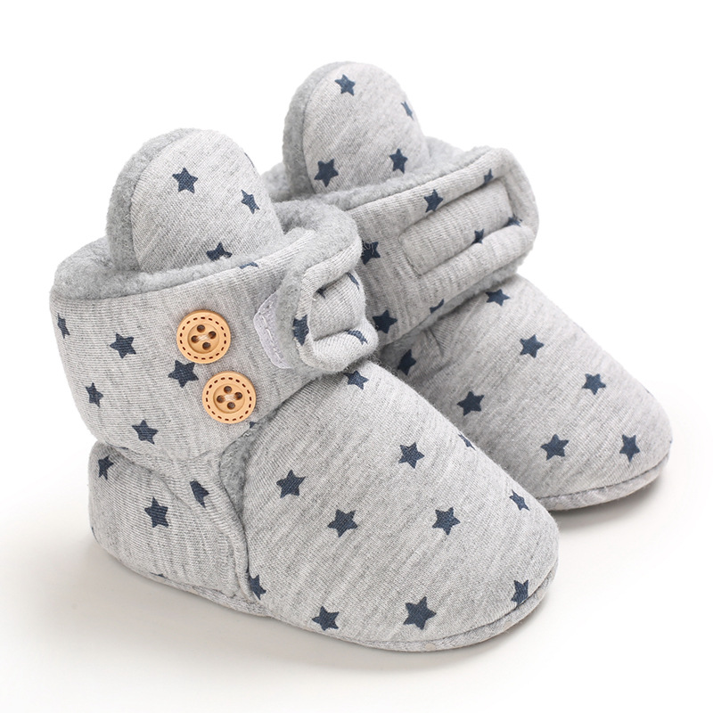 Baby Winter Cute Shoes for Girls Walk Boots for Boys Star Ankle Kids Shoes Toddlers Comfort Soft Newborns Warm Knitted Booties