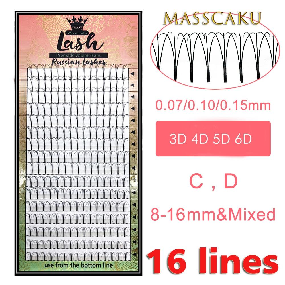 MAS Lashes 16 Lines Premade Volume Fans 3d/4d/5d/6d Lash Russian Volume Eyelash Extensions Pre made Lash Extension Faux Mink(China)