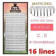Mas cílios 16 linhas pré fabricadas, volume leque 3d/4d/5d/6d russo extensões postiças de volume extensão de cílios feita faux mink