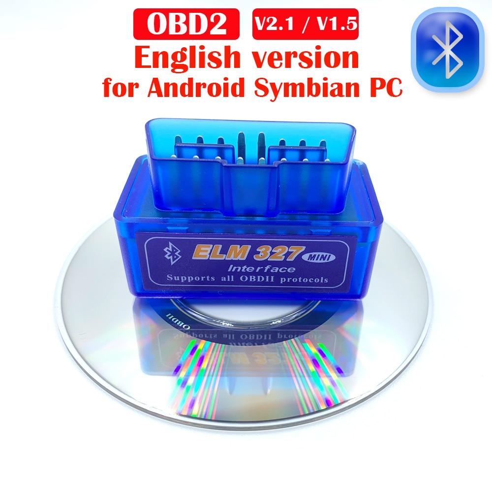 Lo más nuevo OBD2 Elm327 V1.5/V2.1 herramientas de diagnóstico Bluetooth para coche accesorios de coche arreglo Android/Symbian para Bmw e46 para Volkswagen, etc. Super Mini Elm327 Bluetooth OBD2 V1.5 Elm 327 V 1,5 OBD 2 herramienta de diagnóstico del coche escáner Elm-327 OBDII adaptador herramienta de diagnóstico automático