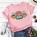 YT Новая Летняя женская футболка с буквенным принтом, хлопковые повседневные топы с коротким рукавом для друзей, футболки