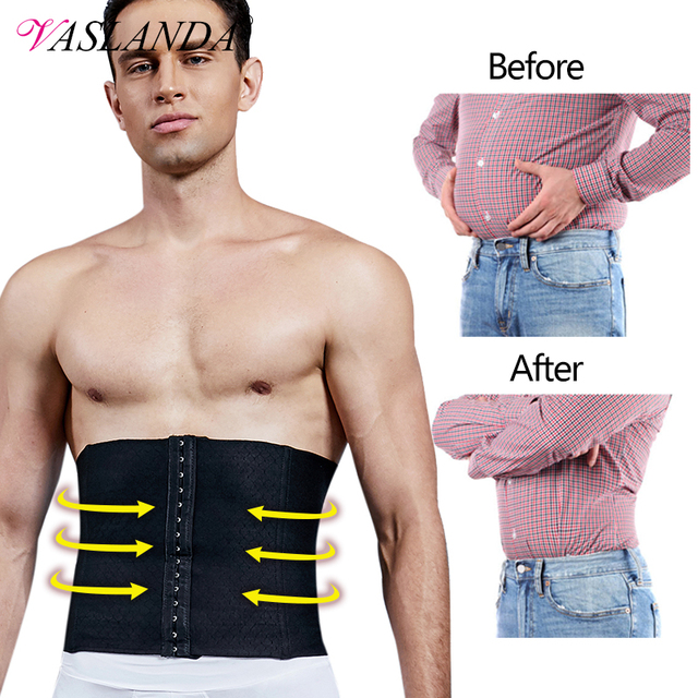 VASLANDA Men Waist Girdle Corsets Lumbar Trainer Body Shaper Fitness Sauna Sweat Belt Shapewear Fat Burning Slimming Underwear