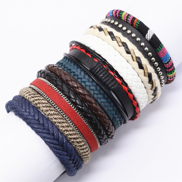 10 Pcs/set Weave Wrap Leather Men Bracelets for Women Bangles Femme Homme Male Jewelry Pulsera Hombre Erkek Bileklik Pulseira