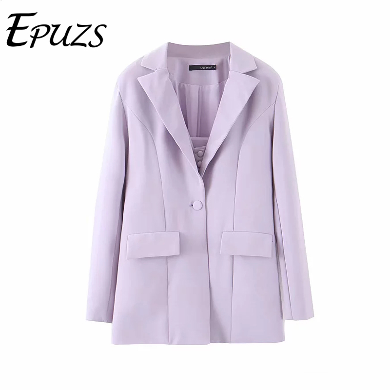 Fashion Women Blazers And Jackets Autumn Purple Single Button Blazer Jacket Casual Long Sleeve Office Women Blazer 2019