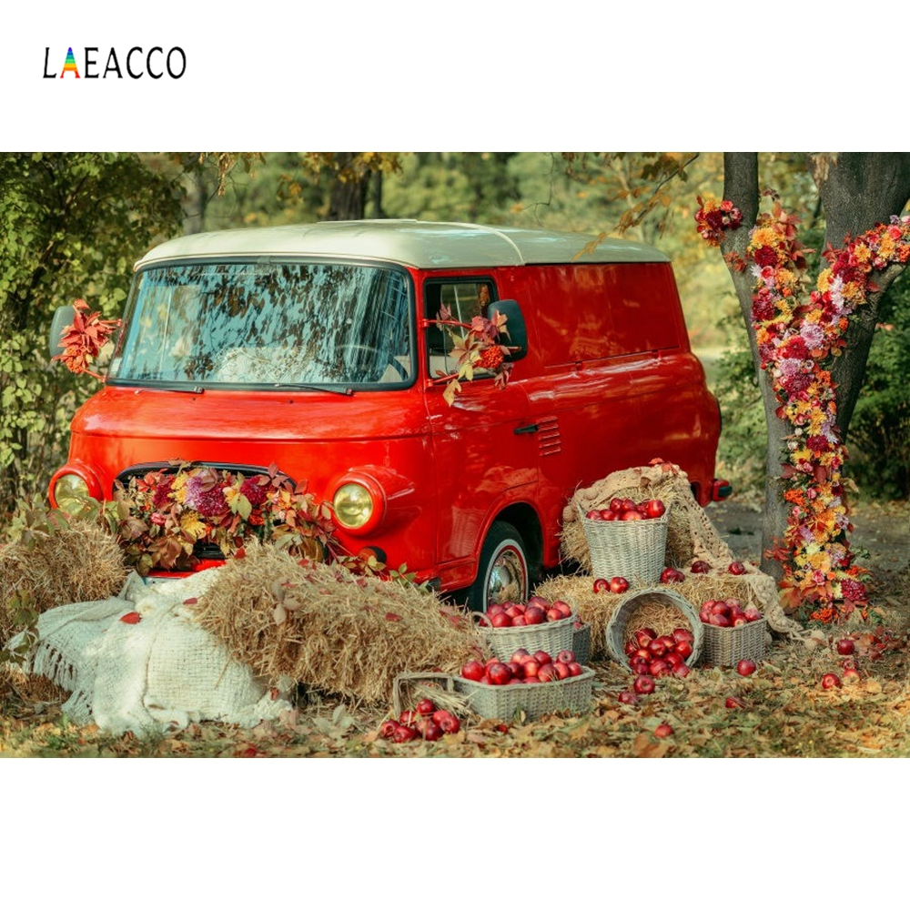 Laeacco Autumn Outdoor Havest Apples Haystack Red Car Leaves Photography Backgrounds Vinyl Customs Backdrops For Photo Studio