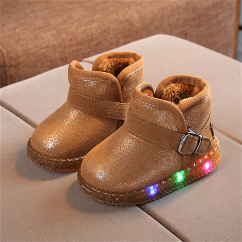 Kids Boots For Girls Warm Ankle Children Shoes With Light Up Kids Boots Winter Toddler Baby Girls Led Light Shoes Boots