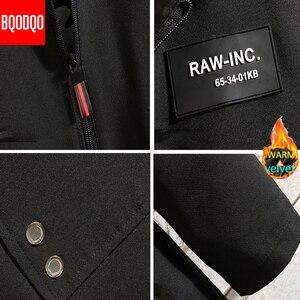 Image 5 - Inverno quente longo trench coat masculino estilo militar com capuz casual blusão preto hip hop streetwear outono jaqueta masculina de grandes dimensões