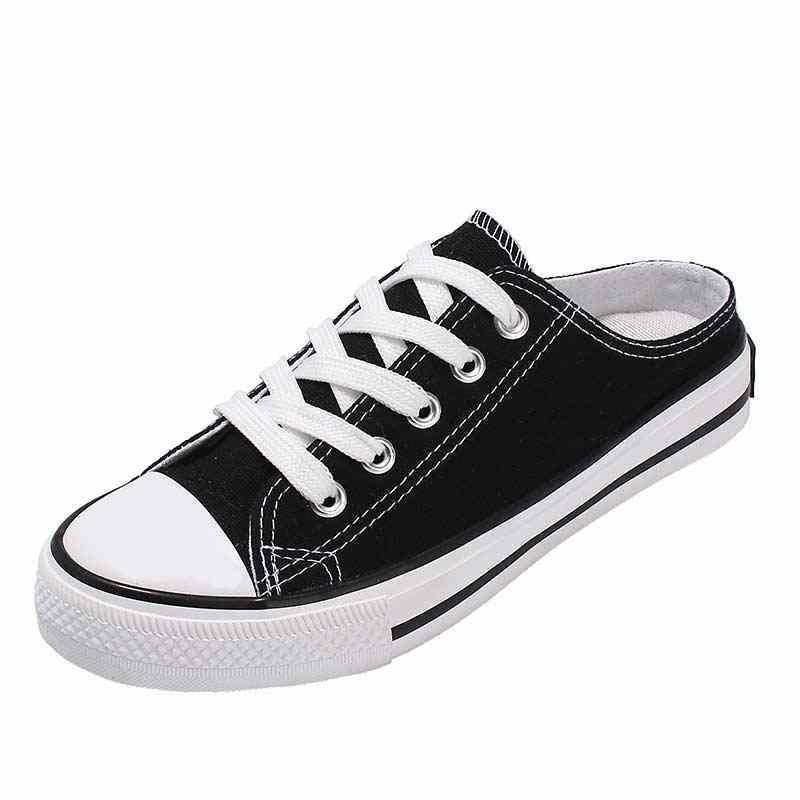 Rahat yarım sürükle kanvas ayakkabılar kadın 2019 yeni moda düz ayakkabı kadın vulkanize ayakkabı dantel up hiçbir topuk bayan ayakkabı daireler