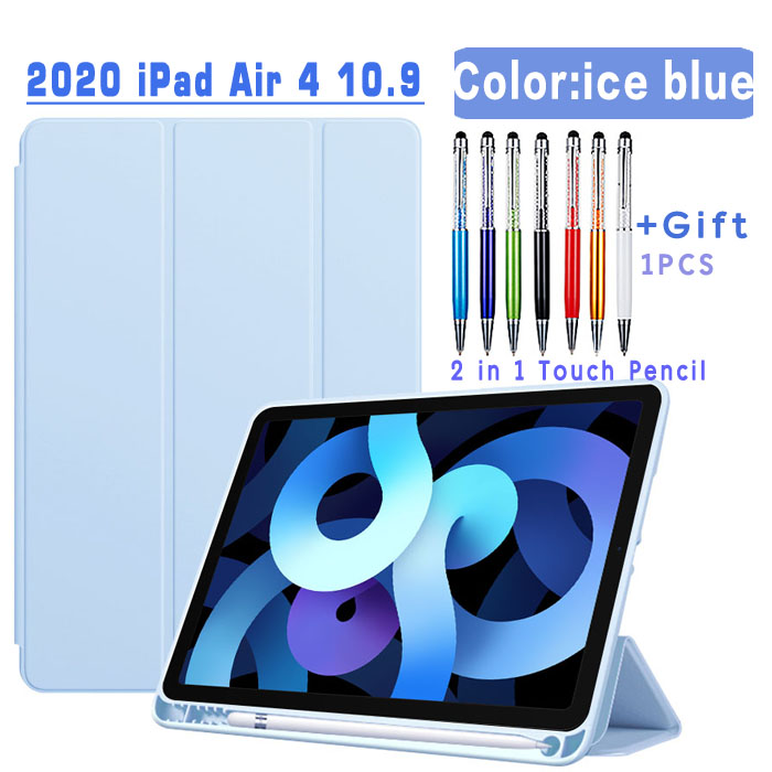Flip Case-ice blue Other Magnetic Case For iPad Air 4 2020 10 9 inch flip case with Pencil Holder For