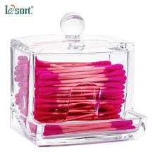 Acrylic Cotton Swabs Storage Holder Box Transparent Makeup Pad Case Cosmetic Container Jewelry Organizer makeup organizer