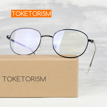 Toketorism blue light glasses womens oval metal frame mens for working at a computer  4009