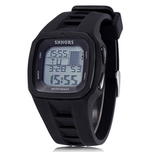 Shhors Watches Fashion Watches Men Led Digital Watches Men Sports Watches Waterproof Silicone Electronic Watches Reloj Hombre cheap WoMaGe 25cm Resin Buckle 3Bar 41mm 15mm Glass Stop Watch Back Light LED display luminous Complete Calendar Water Resistant