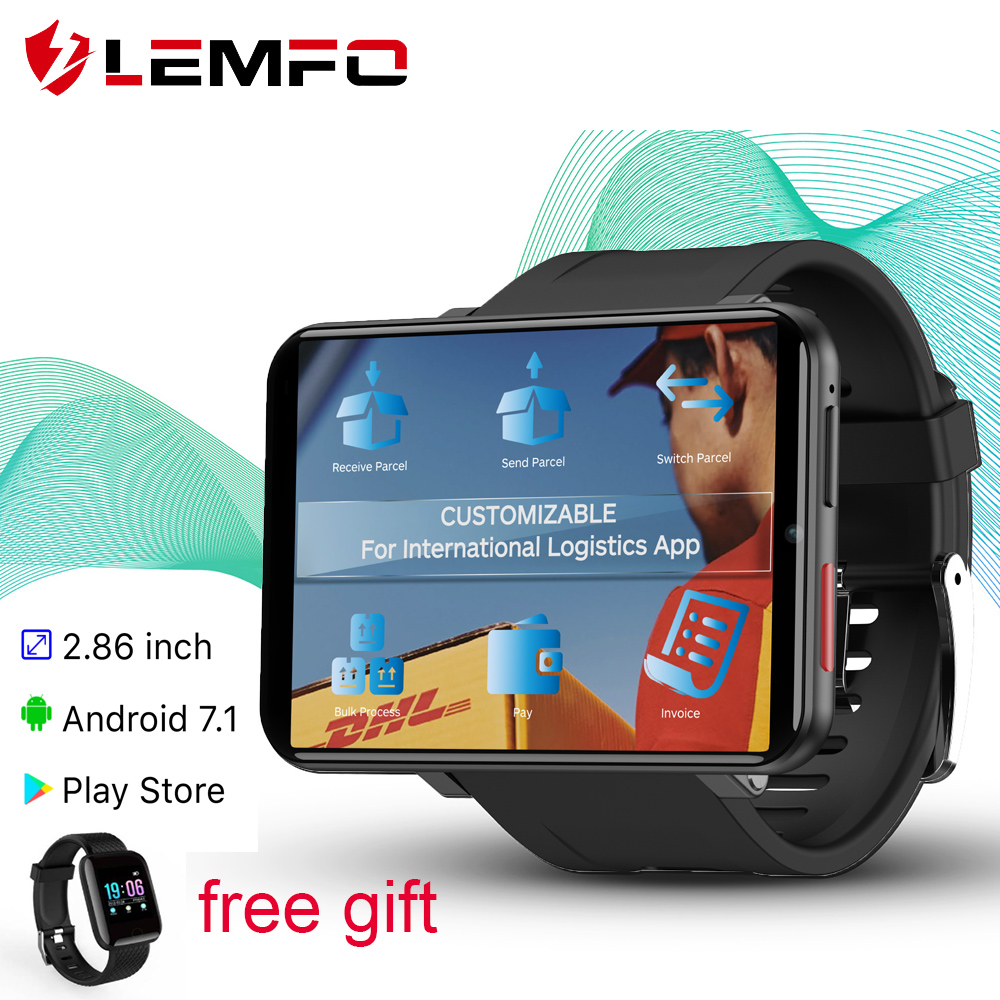 LEMFO LEM T Smart Watch Android 7.1 3GB + 32GB Support 2.86 Inch SIM Card 4G GPS WiFi 2700mAh Large Battery for Smartwatch Men