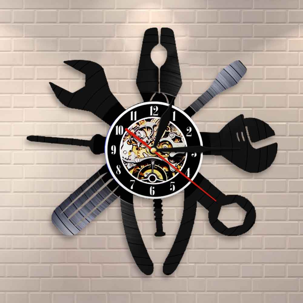 Auto Repair Wall Art Car Service Mechanic Garage Salon Wall Clock Car Repair Station Sign Mechanic Vinyl Record Wall Clock Gift