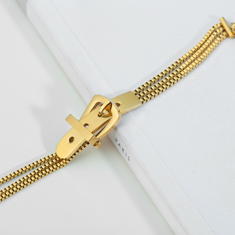 Fashionable Belt Buckle Three-Layer Chain Bracelet For Women