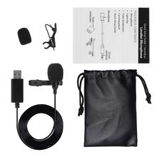 USB Lavalier Microphone Mini Stereo Clip-on Lapel Mic Condenser for PC Computer professional lavalier lapel unidirectional condenser microphone for sennheiser wireless bodypack transmitter 3 5 mm lockable