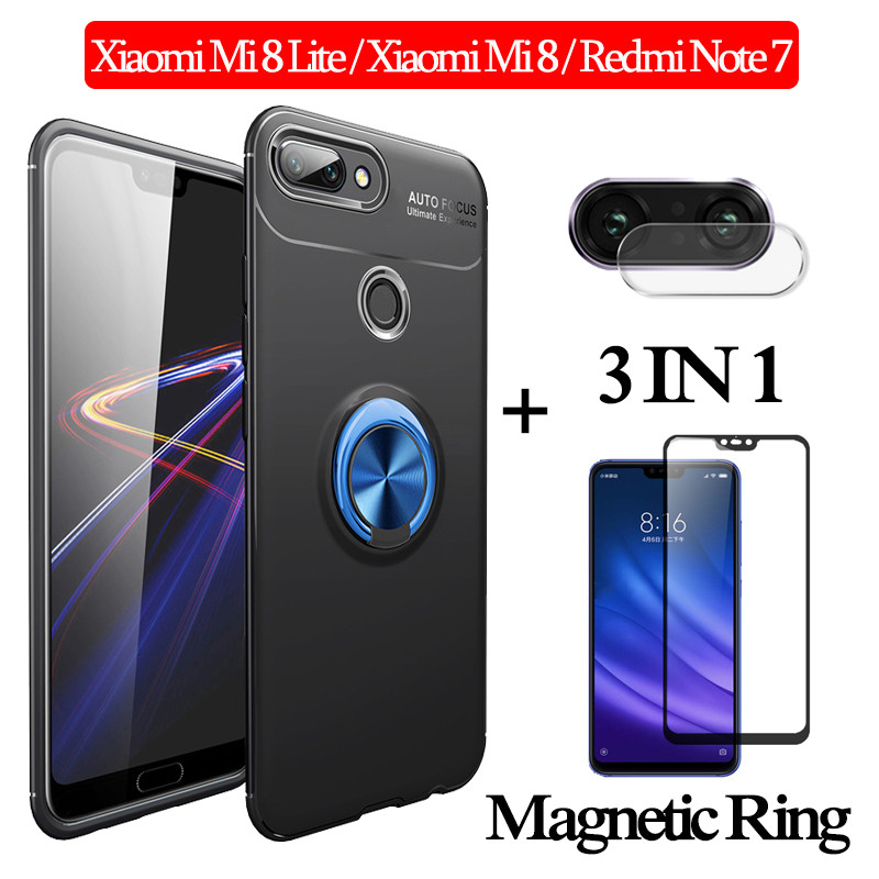 3-in-1 Glass + Magnetic Silicone Case for Xiaomi Mi 8Lite phone Redmi Note 7 Full Cover xiaomi mi 8 lite magnetic ring