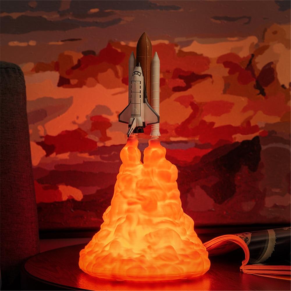 Impresión 3D, lámpara de lanzadera espacial, creativa luz de noche con carga por USB, café, Bar, decoración del hogar, lámpara de mesa, regalo de cumpleaños Lámpara LED estrellado con Bluetooth para proyector de cielo nocturno, luz de estrella, Cosmos Master, batería de regalo para niños, batería USB, luz nocturna para niños