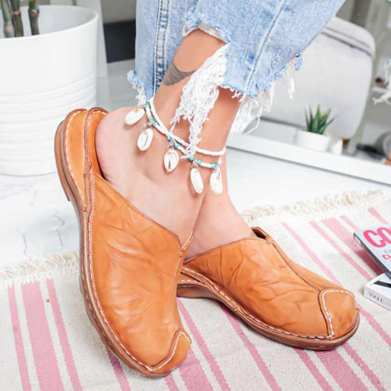2020 moda İlkbahar yaz kadın yeni terlik rahat deri el yapımı düz ayakkabı kadın yuvarlak kafa rahat bayan kadın ayakkabısı