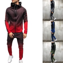 Mens New Fashion Popular CasualZipper Tracksuit Men Set Sporting 2 Pieces Sweatsuit Men Clothes Printed Hooded Hoodies Jacket P