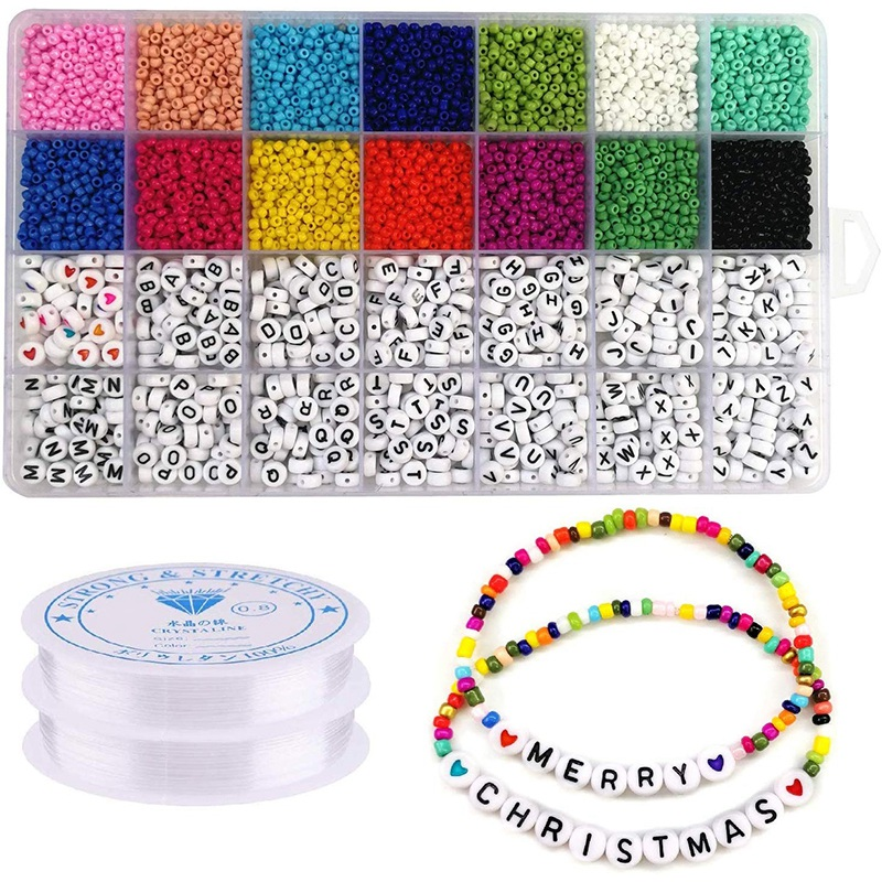 5000Pcs Beads Kit, 3mm Glass Seed Beads, Alphabet Letter Beads and Heart Shape Beads for Name Bracelets Jewelry Making and Craft(China)
