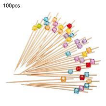 Высококачественные 100 шт одноразовые бамбуковые Коктейльные зубочистки фруктовые сэндвич Квадратные бусины палочки