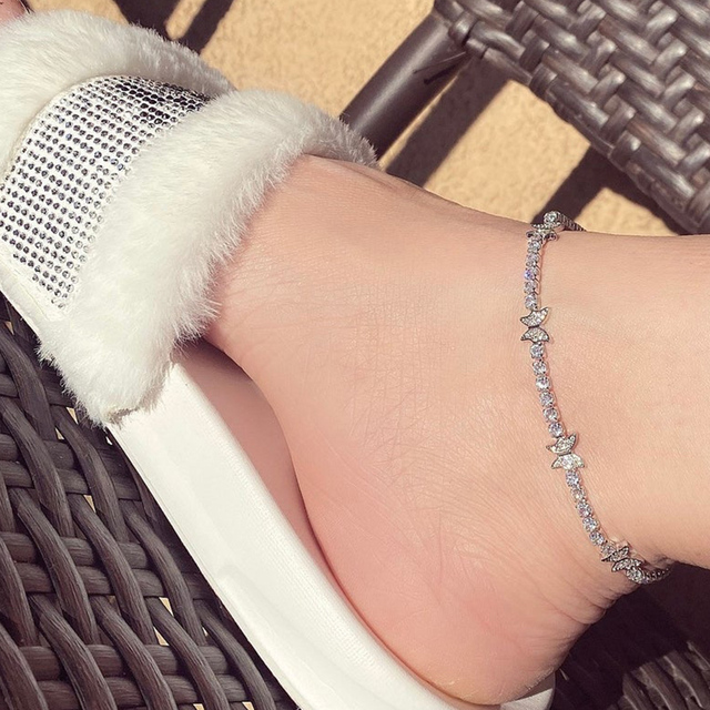 Stonefans Crystal Butterfly Anklet Bracelet for Women Barefoot Ankle Tennis Anklet Chain Beach Accessories Wholesale Female Gift 2