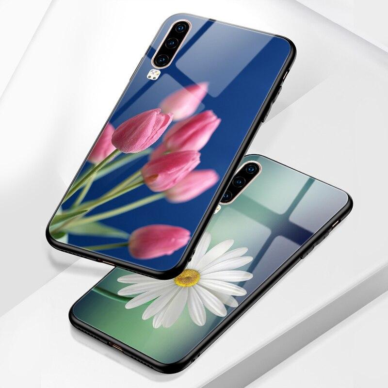 Bright Flowers Phone Case FOR Huawei P30 Lite P20 PRO P40 Lite E P10 P9 2016 Funda Glossy Back Cover P Smart Z 2018 2019 Plus