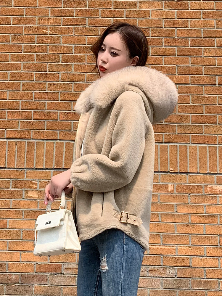 Sheep Real Shearling Fur Coat Female Jacket 2020 Winter Jacket Women Fox Fur Collar 100% Wool Coats Korean Outwear MY S