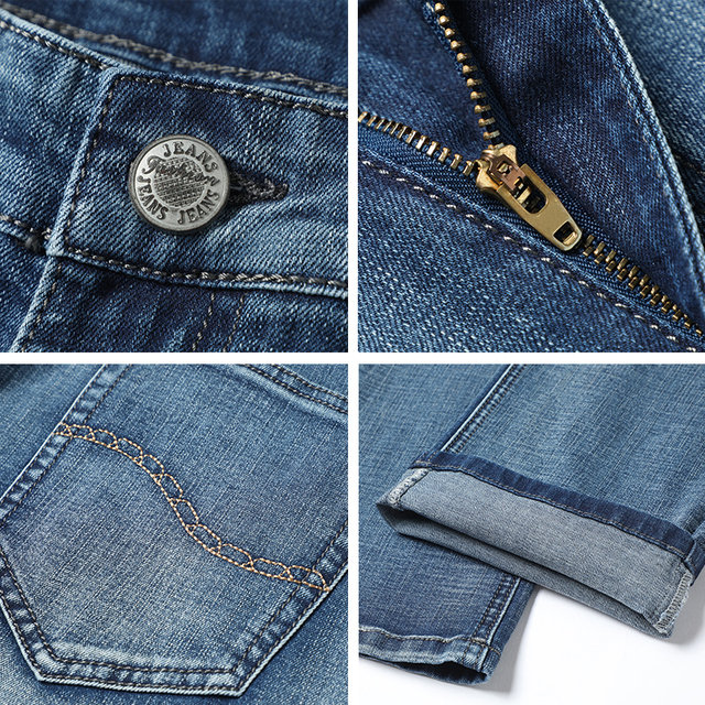 2020 New Business Fashion Stretch Denim Classic Style Men's  Regular Fit Stragith Jeans Jean Trousers Male Pants Blue And Black 3