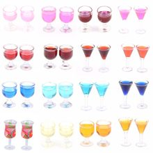 2Pcs 1:12 Doll Houses Triangle Cocktail Glass Colorful Glass Cup Goblet Bar Drinking Dollhouse Miniature Accessories(China)