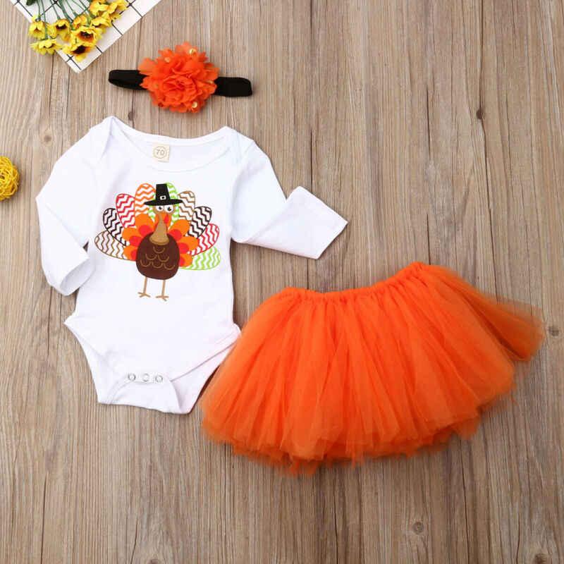 3 sztuk noworodka dla dzieci dla dzieci dziewczyna niemowlę bawełniana z długim rękawem Romper kurczaka druku topy koronki Tutu Mini spódnice z pałąkiem na głowę stroje zestawy