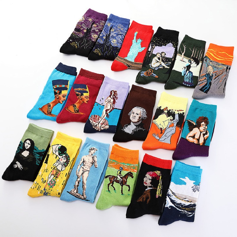 Funny Socks New Art Mona Lisa Mural World Famous Oil Painting Series Hot Sale Female Socks Autumn Winter Retro Women