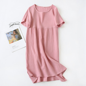 Image 5 - 夏パジャマ綿 100% クレープ半袖sleepshirtsプラスサイズルースナイトガウン女性の夜のガウンセクシーな睡眠ドレス