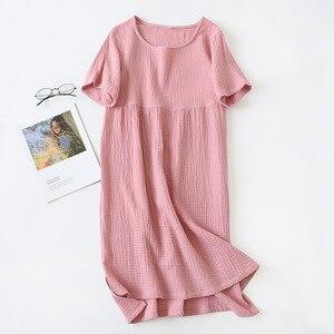 Image 5 - Yaz pijama % 100% pamuk krep kısa kollu Sleepshirts artı boyutu gevşek Nightgowns kadınlar gece elbisesi seksi uyku elbise