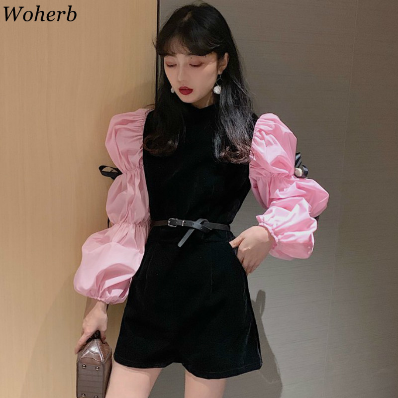Woherb Fashion New Long Puff Sleeve Jumpsuit Female Contrast Color Patchwork Playsuit High Waist Elegant Rompers Women 91465