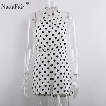 Nadafair Woman Short Jumpsuit Sexy Off Shoulder Backless Halter Chiffon Polka Dot White Summer Playsuit Women 5