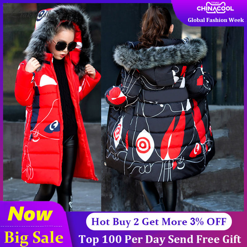 Kids Winter Jacket For Girls 2019 Fashion Brand Girl Down Jacket Warm Child Down   Parkas   Coat 4 5 6 7 8 9 10 11 12 13 14 Years