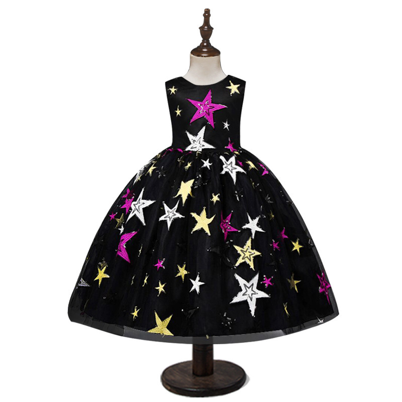 2019 Hot Selling Children's Clothing Dress Women's Children's Star Sequin Embroidered One Piece Princess Skirt