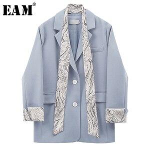 Женский блейзер для досуга EAM, Синий Свободный блейзер с длинным рукавом и принтом, 2020
