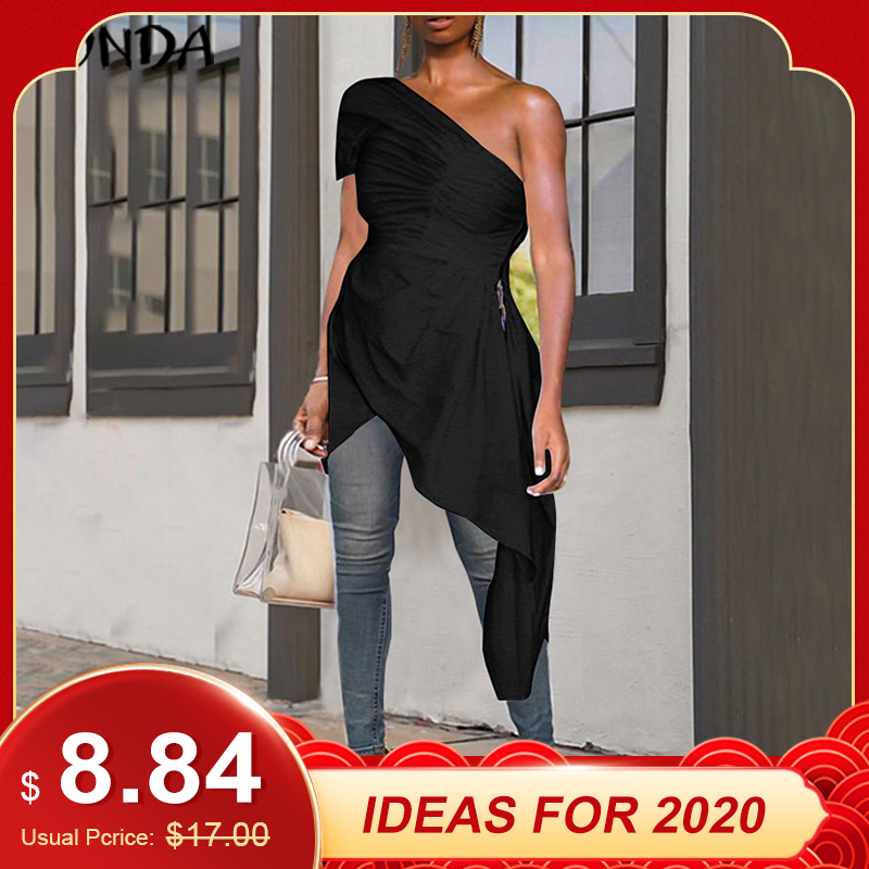 Asymmetrical Tunic VONDA Summer Party Shirts Women Sexy Off Shoulder Tops 2019 Casual Loose Side Zip Blouse Plus Size Blusas