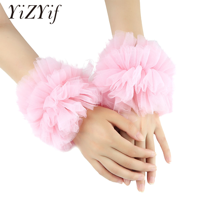 Sexy Steampunk Cuffs Bracelet Adjustable Ruffled Tulle Bracelet False Sleeves Wrist Cuffs Photo Props Dance Costume Accessories