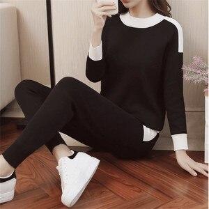 Image 5 - CBAFU סתיו חורף נשים אימונית ארוך שרוול סוודר מכנסיים חליפת סרוג מכנסיים חליפת סריגה נשים של סט אלסטי מותניים P397