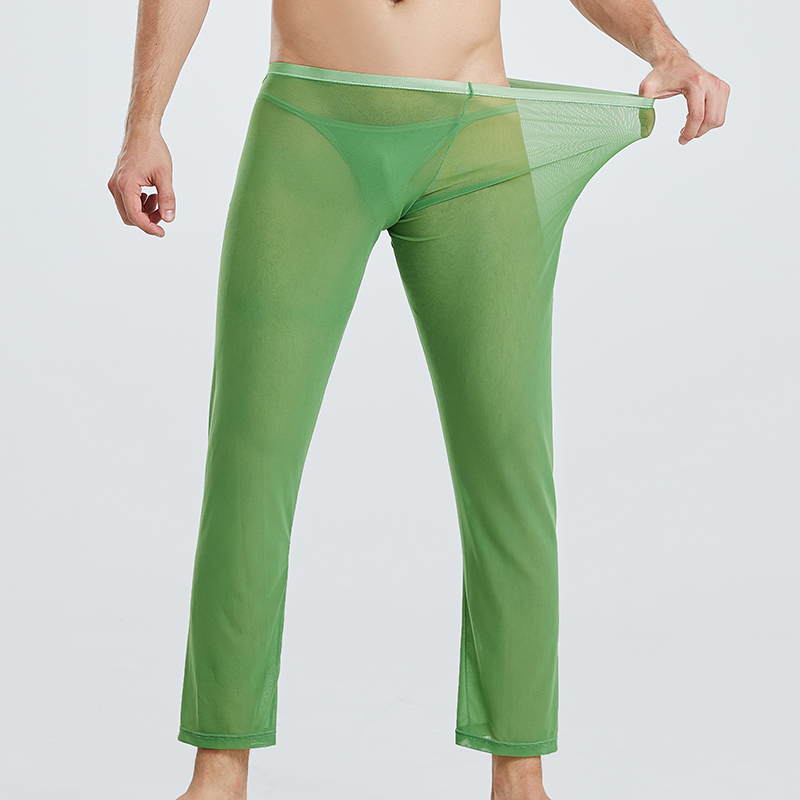Sexy Men Trousers Mesh See Through Breathable Pants Casual Loose Sleep Bottoms Sheer Slip Pajamas Ultra-thin Lounge Sleepwear