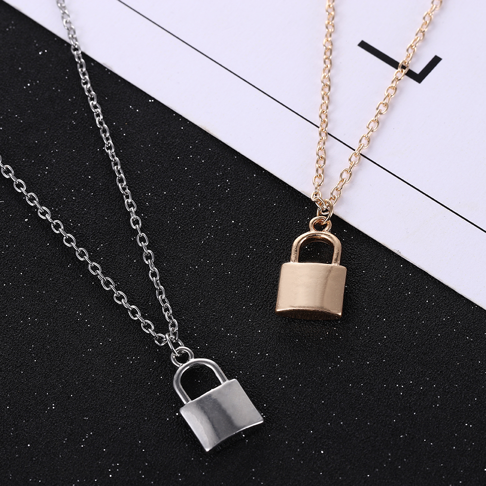 Hot Sale New Simple Fashion Metal Plating Lock Necklace luxurious Ladies Pendant Clavicle Chain European and American Jewelry
