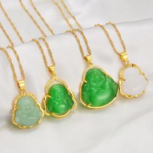Anniyo Buddha Pendant Necklaces Women Gold Color Amulet Chinese Style Maitreya Necklace Jewelry New Style Drop Shipping #001536