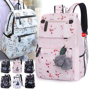 Image 4 - Mode femme sac à dos motif fleur femmes sac à dos étanche sacs à bandoulière adolescente sac décole Mochilas femme étudiant